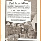 ORIGINAL 1918 WORLD WAR 1 ABA CHEQUES AD WITH DOUGHBOYS + LWF BIPLANE PHOTO
