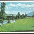 14th Fairway Jasper Park Lodge Golf Course Lac Beauvert Man in Canoe 1003