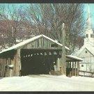 Covered Bridge Waitsfield Vermont Winter View Church Steeple Barn Postcard 1034