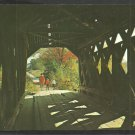 2 Children Father Walking Through a New Hampshire Covered Bridge Chrome Postcard 52