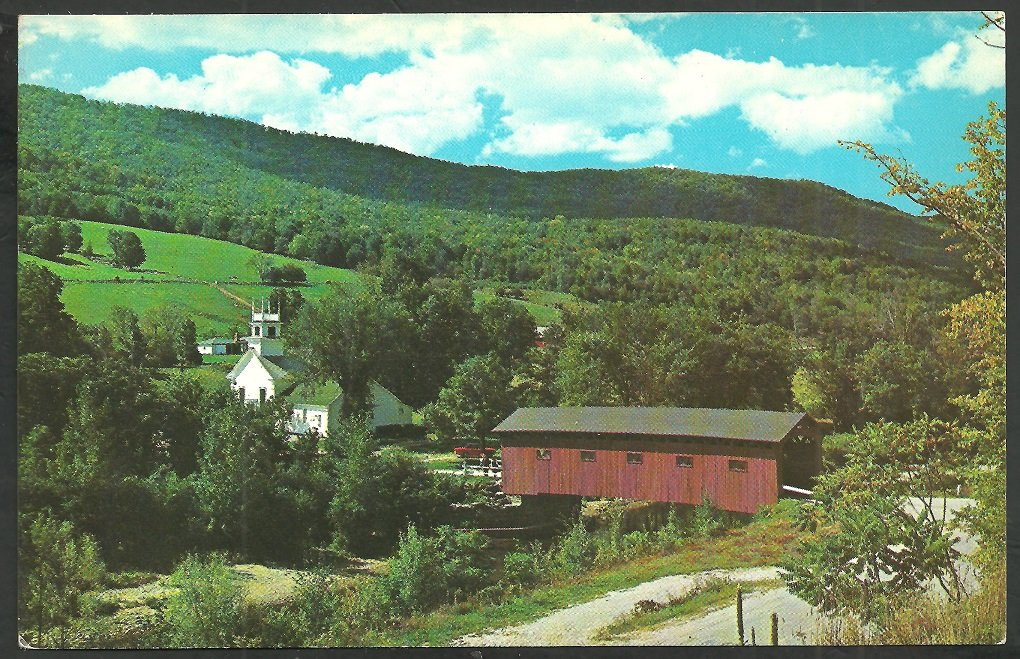 Covered Bridge West Arlington Vermont Battenkill River Church Road Fields Mountain Chrome Postcard