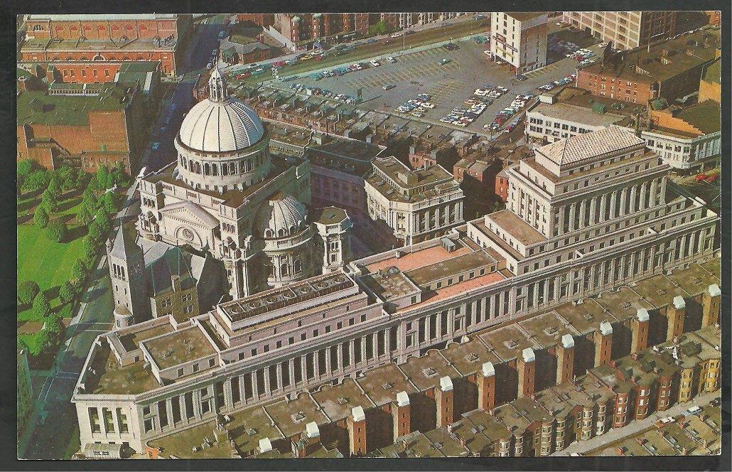 Birds Eye View First Church of Christ Scientist Boston MA Chrome Postcard 55