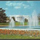 The White House and Grounds Washington DC Flowers Fountain 1953 Chrome Postcard 130