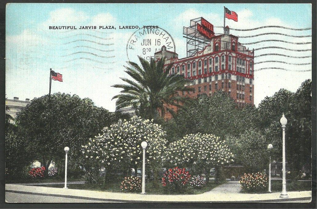 Laredo Texas Jarvis Plaza Hotel Hamilton Neon Sign Linen Postcard 135
