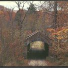 Late Autumn Foliage Covered Bridge West Townshend Vermont chrome Postcard 1100