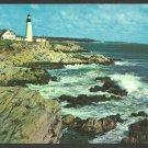 Portland Head Maine Lighthouse Rocky Coast Surf Light House Chrome Postcard 151