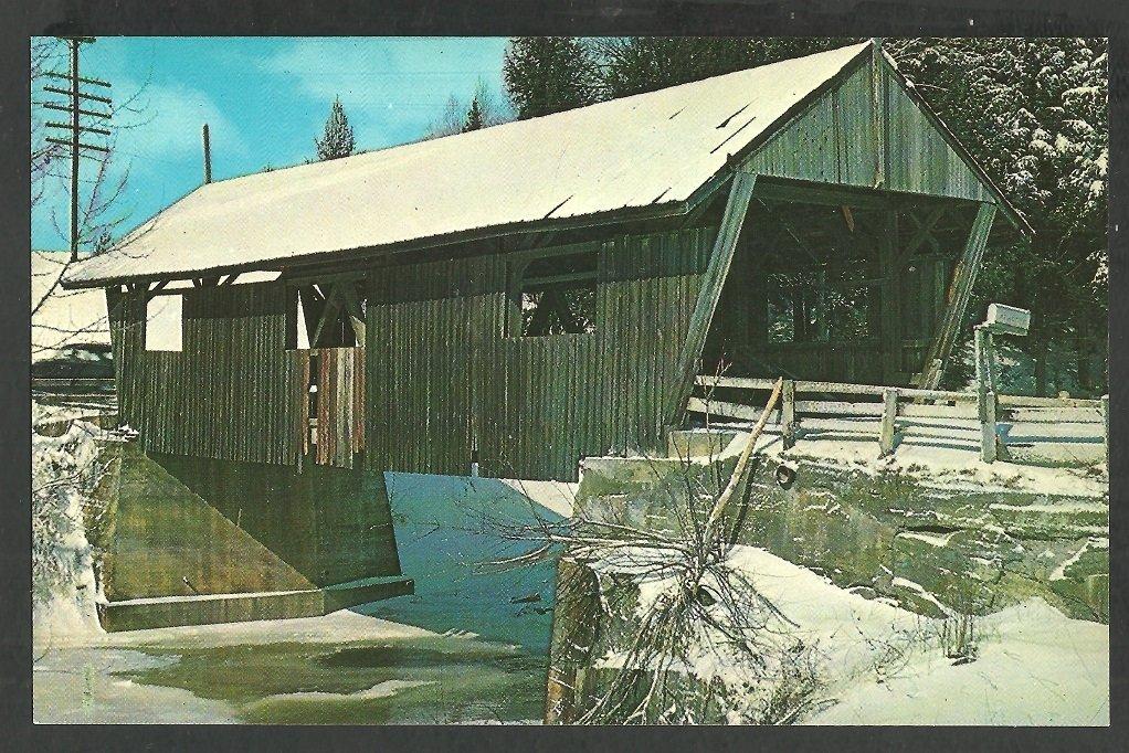 Winter Scene Covered Bridge Johnson Vermont Lamoille County Chrome Postcard 1136