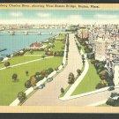 Charles River Esplanade Boston MA West Boston Bridge Pre Hatch Shell Linen Postcard 1141