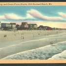 Beach Hotels Bathers Old Orchard Beach Maine Linen Postcard 183