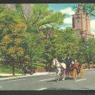 Central Park New York Horse & Carraige Pedestrians Traffic Light Linen Postcard 200