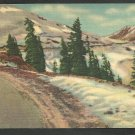 Roadway Up Snow Covered Mountains Lined With Evergreen Trees Linen Postcard 1162