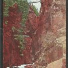 Box Canyon w/ Hiking Bridge at Top Near Ouray Colorado Million Dollar Highway Linen Postcard 1167