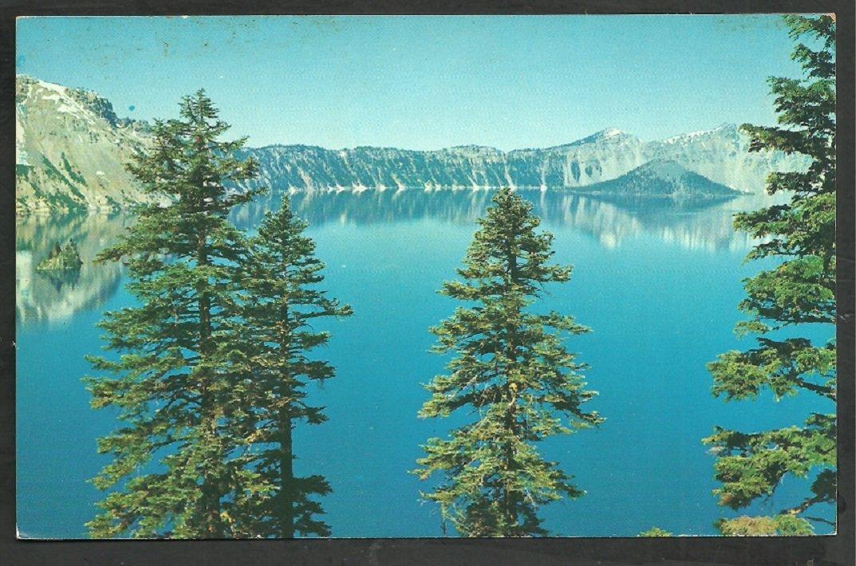 Unique View Crater Lake Oregon w/ the Phantom Ship and Wizard Island Chrome Postcard 226