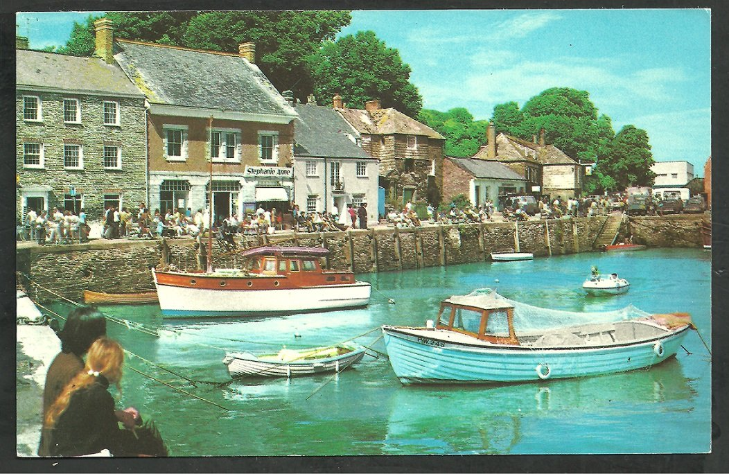Padstow Cornwall Boats Harbor Stores Shoppers Chrome Postcard 230