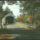 Covered Bridge North Newport New Hampshire Fall Foliage Country Road Chrome Postcard 1171