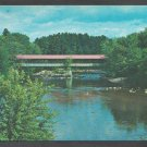 Summer View of Covered Bridge Over Saco River Conway New Hampshire White Mountains Chrome Postcard