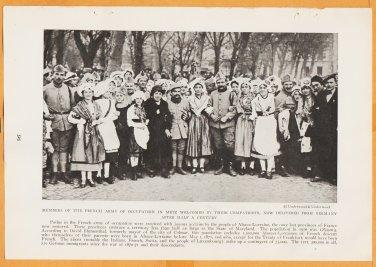 1918 Natgeo Photo French Soldiers With Citizens of Metz + Old School Irishman & Women In Doorway