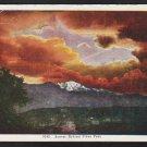 Sunset Behind Pikes Peak Colorado White Border Postcard 278
