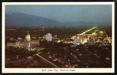 Splendid Night View Salt Lake City Utah From Bee Mountain White Border Chrome Postcard 282
