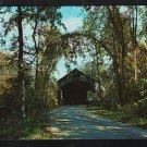 Shaded Tree Lined Country Road Leading to Old Covered Bridge Brandon Vermont Chrome Postcard 1194