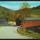 Covered Bridge West Arlington Vermont 2 Lane Road Farm Plowed Field Chrome Postcard 1200