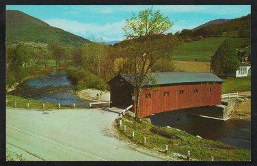 Covered Bridge West Arlington Vermont 2 Lane Road Farm Plowed Field Chrome Postcard 1200
