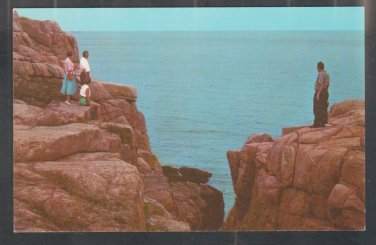 Tourists Looking Into Rafes Chasm & Atlantic Ocean Gloucester Magnolia Rockport MA Chrome Postcard