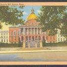 The State House Beacon Hill Boston Ma. Linen Postcard 1216