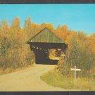 Golden Autumn Foliage Surrounding a Stowe Vermont Covered Bridge on a Dirt Road Chrome Postcard 1217