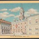 City Hall Portland Maine Gold Border Linen Postcard 334