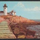 Eastern Point Lighthouse & Breakwater Gloucester MA Mass Cape Ann Chrome Postcard 352