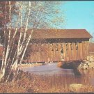 Andover New Hampshire Covered Bridge Birch Trees Golden Foliage Chrome Postcard 1238