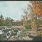 Covered Bridge Thetford Center Vermont Fall Foliage Rushing Stream Small Falls Chrome Postcard 1249