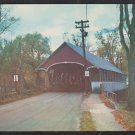 Covered Bridge Lyndon Vermont 2 lane Road Chrome Postcard 1259