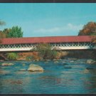 Covered Bridge Over Ashuelot River New Hampshire Autumn Foliage Chrome Postcard 1262