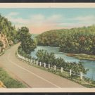 A Meandering River Running Along Side a 2 Lane Country Road Linen Postcard 1265