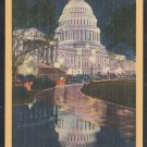 United States Capitol Building By Night Washington DC Linen Postcard 1266