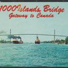 Two Cargo Ships Passing Under 1000 Islands Bridge Gateway to Canada Chrome Postcard 1268