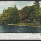 A Lovely Park and Pond Street Lamps Benches Blank Back Antique Postcard 1269