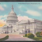 United States Capitol Building Washington DC Linen Postcard 1286
