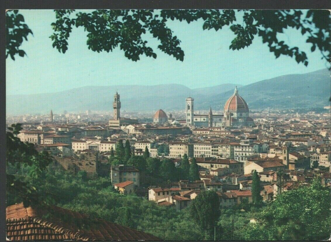 Florence Firenze Italy Overview From Hillside Chrome Postcard 1508