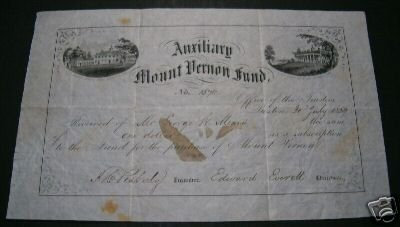 Edward Everett signed Mount Vernon Fund Certificate