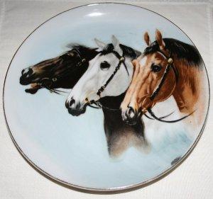 Three Horses Decorative Plate Vintage Stamped Japan
