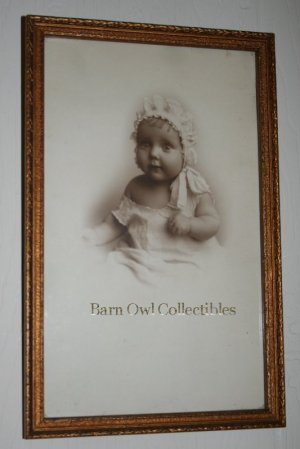 Antique Framed Photograph of Baby with Frilly Cap