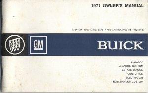 1971 Buick LeSabre Electra 225, Centurion Owner's Manual