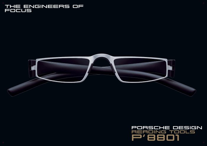 Porsche Design +3.50 (custom made) Lens Reading Tool P'8801 Titanium Mat Frame Matt Black sides