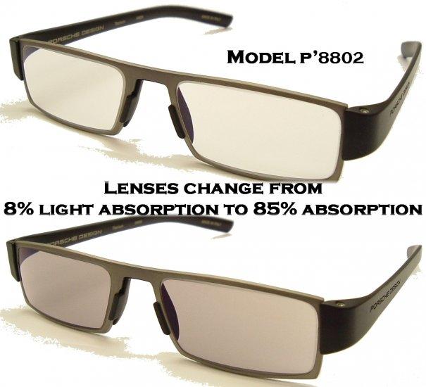 Porsche Design +2.00 Reading Tool P'8802 Titanium Frame Matt Black sides +2.00 PHOTOCHROMIC Lens