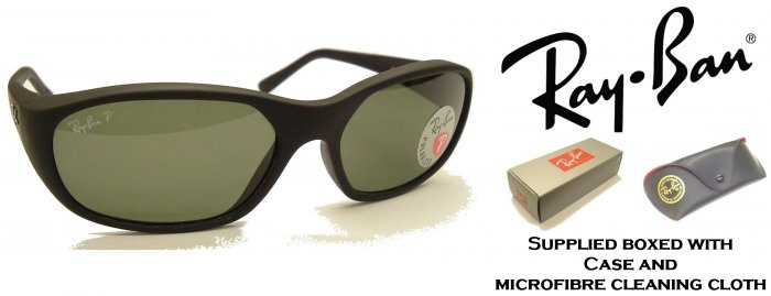 RayBan Daddy O Square Wrap 2016 Black Sunglasses POLARIZED Safety Glass Lens with Rear A/R Coating