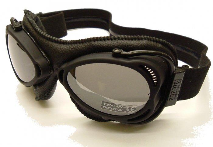 nannini Snowfighter Black Leather Sunglasses/Ski Goggles Grey Silver Mirror polycarb lens