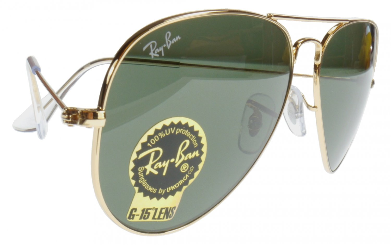 Ray Ban Large Metal Aviator Sunglasses Gold Frame G15 Lens Model 3025 Glass Lenses 58mm size